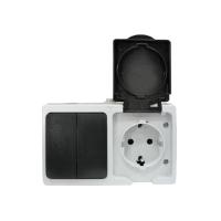 """""""Венеция"""" Блок Розетка-выключатель 2-клавишный 16А с заземлением с крышкой IP54 серый с защ. штор. EKF"""