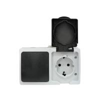 """""""Венеция"""" Блок Розетка-выключатель 1-клавишный 16А с заземлением с крышкой IP54 серый с защ. штор. EKF"""
