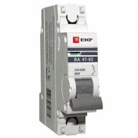 Автоматический выключатель 1P 1А (C) 4,5kA ВА 47-63 EKF